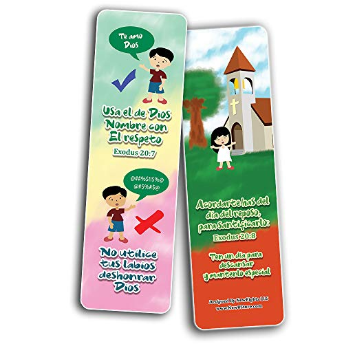 Spanish 10 Commandments Bookmarks Cards (30-Pack) - Stocking Stuffers for Boys Girls - Children Ministry Bible Study Church Supplies Teacher Classroom Incentives Gift