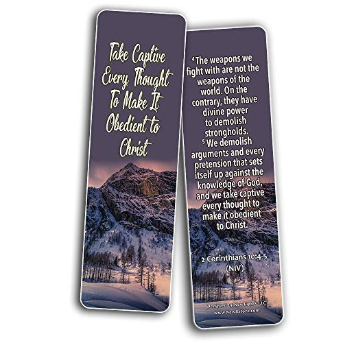 Bible Verses Bookmarks about Focus on God to Empty Out Negative Thoughts (30 Pack) - Bible Verses That Help To Be Cheerful Despite Setbacks