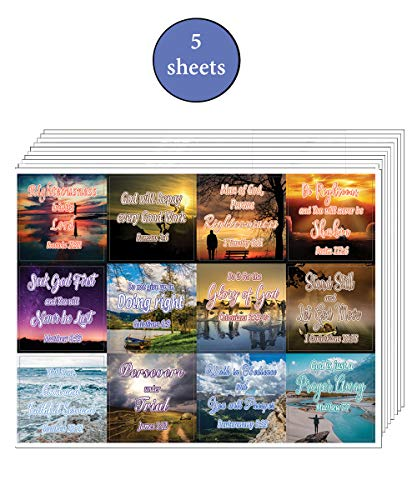 Encouraging Religious Stickers - Righteousness & God's Rewards (5-Sheet) - Great Variety Colorful Stickers
