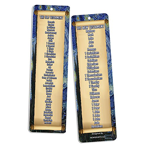 Book of the Bible Bookmarks (12-Pack) - Religious Basket Stuffers for Bible Studies VBS Cell Group Good Friday Easter Thanksgiving Christmas Church Supplies