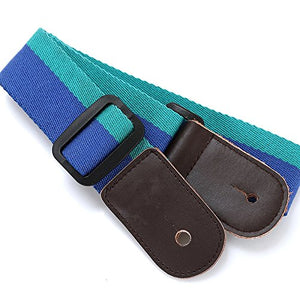 Ukulele Strap Pure Cotton Blue Colorful Strap with Leather End - FREE Ukulele Strap Button and eBook - Length: 49in & Adjustable
