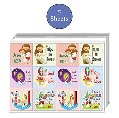 Kids Christian Stickers 12 pcs set (5 Sheets) - God is Love Affirmation Bible Verses