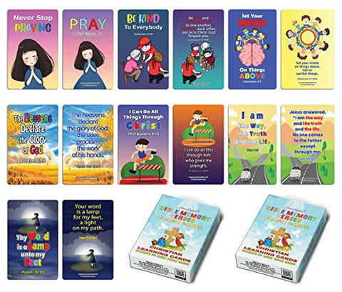 Christian Learning Cards - Bible Memory Verses Flash Cards (2-Deck)