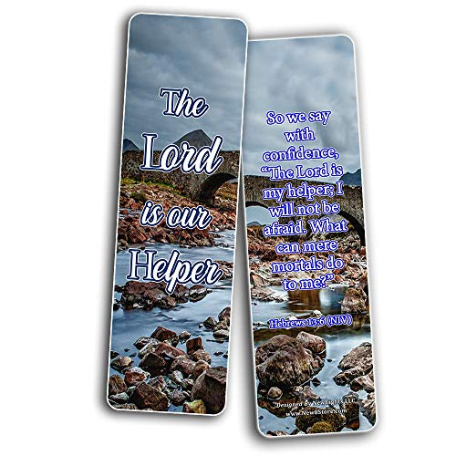 Encouraging Scriptures Bookmarks About God's Protection And Inspire Godly Courage (60-Pack) - Stocking Stuffers Devotional Bible Study - Church Ministry Supplies Teacher Classroom Incentive Gifts