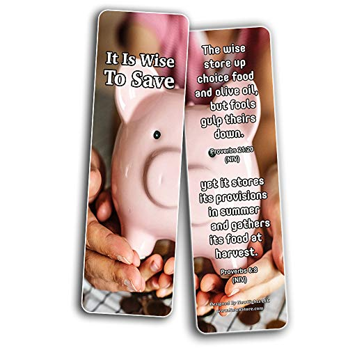 Christian Bookmarks for Biblical Financial Principles Series 4 (60 Pack) - Perfect Giftaway for Sunday School and Ministries