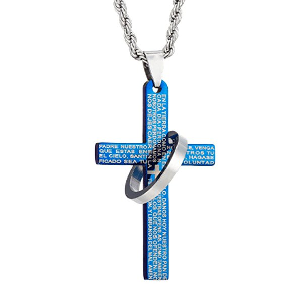 NewEights Blue Ring Cross Pendant Necklace