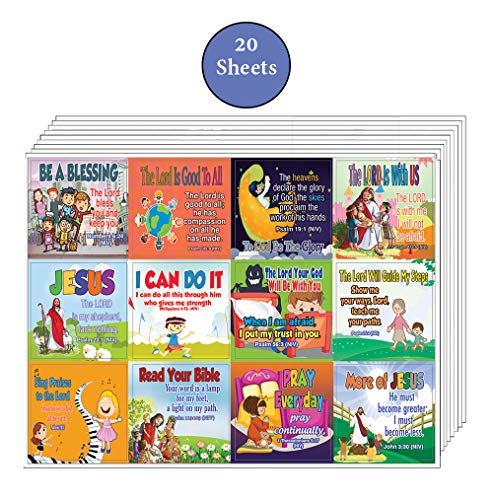 Inspirational Christian Stickers for Kids (20-Sheet) - Motivational Resources for Girls and Boys - VBS Sunday School Materials Giveaways