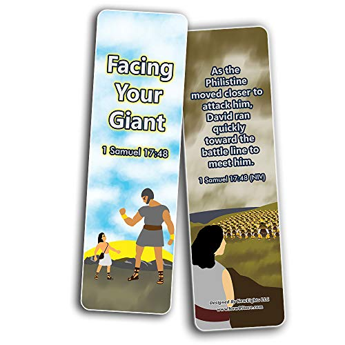 David and Goliath Religious Bible Bookmarks Cards (60-Pack) - Church Memory Verse Sunday School Rewards - Christian Stocking Stuffers Birthday Party Favors Assorted Bulk Pack