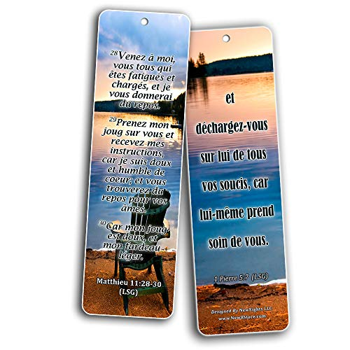 French Most Highlighted Bible Verse Bookmark (30 Pack) - Handy Life Changing French Bible Texts
