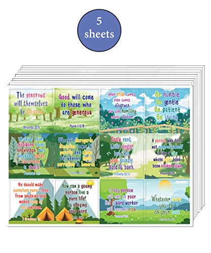 Christian Character Building Stickers for Kids Series 2 (5-Sheet) - Great Variety Colorful Stickers