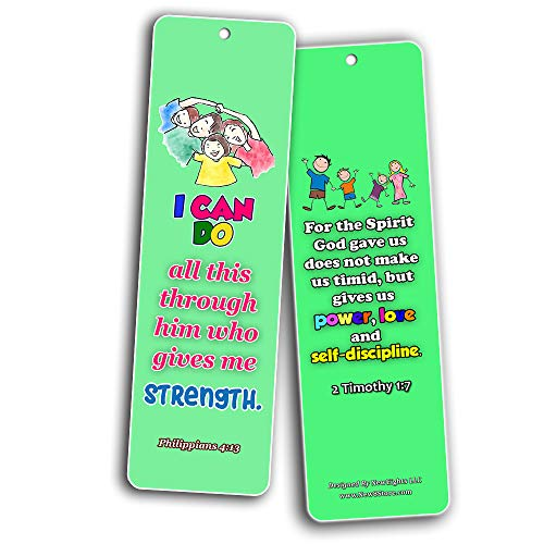 Kids Memory Verse Bookmarks About Faith Wisdom Courage (60-Pack) - Great Way For Kids to Learn the Scriptures
