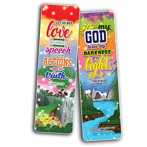 Inspirational Quotes Bible Verse Bookmarks (30-Pack) - Stocking Stuffers for Boys Girls - Children Ministry Bible Study Church Supplies Teacher Classroom Incentives Gift