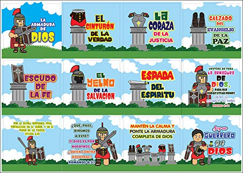 Spanish Armor of God Stickers (20-Sheet) - Church Memory Verse Sunday School Rewards - Christian Stocking Stuffers Birthday Party Favors Assorted Bulk Pack