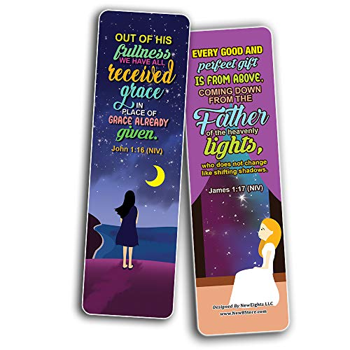 Top Bible Verses about God's Blessings NIV Bookmarks for Women (60-Pack) - Church Memory Verse Sunday School Rewards - Christian Stocking Stuffers Birthday Party Favors Assorted Bulk Pack