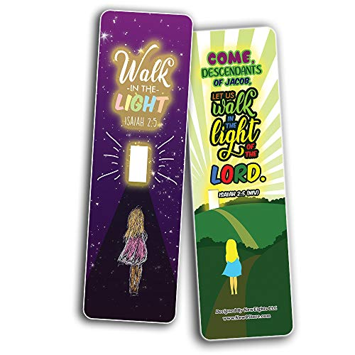 Walk in the Light Bible Verse Bookmarks (60-Pack) - Church Memory Verse Sunday School Rewards - Christian Stocking Stuffers Birthday Party Favors Assorted Bulk Pack