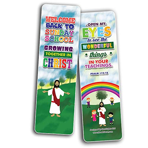 Welcome to Sunday School Bookmarks Cards Series 2 (60-Pack) - Church Memory Verse Rewards - Christian Stocking Stuffers Birthday Party Favors Assorted Bulk Pack