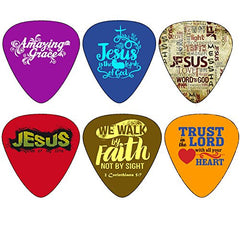 Christian Guitar Picks - Amazing Grace - 12 Pack Celluloid Medium