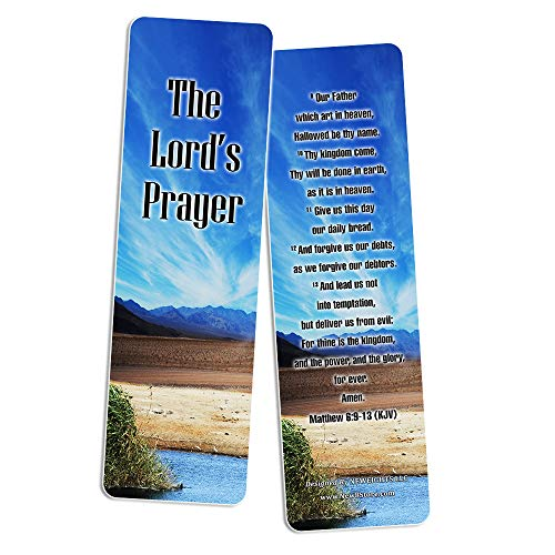Christian Prayer Bookmarks - The Lord's Prayer (30-Pack) - Handy Christian Daily Reminder - Church Ministry Supplies Classroom Teacher Incentive Gifts Giveaways - Stocking Stuffers Devotional Bible