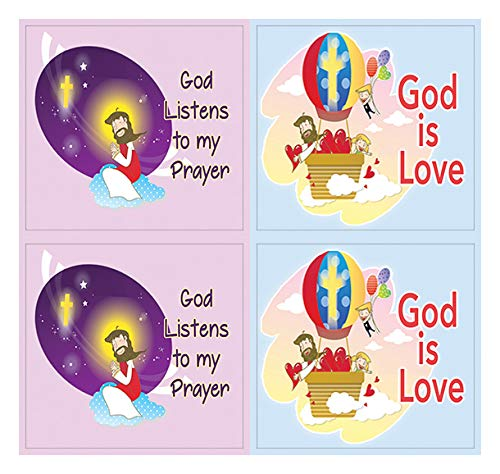 Kids Christian Stickers 12 pcs set (20 Sheets)- God is Love Affirmation Bible Verses