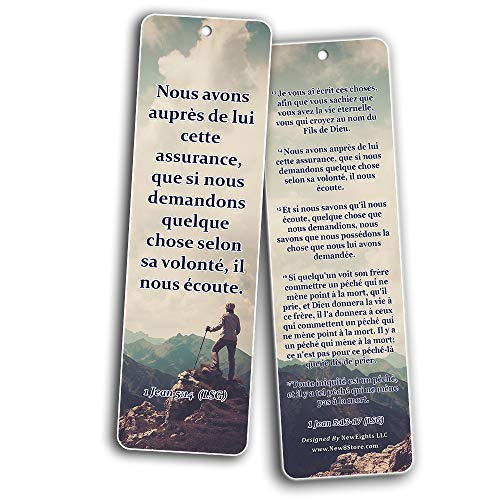 French Popular Bible Verse Bookmarks (60 Pack) - Perfect Giveaways for Sunday School and Ministries Designed to Inspire Women and Men
