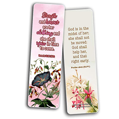 Religious Empowering Bible Verses Flowers Bookmarks for Women (30 Pack) - Handy Life Changing Bible Texts and Quotes With Flower Designs