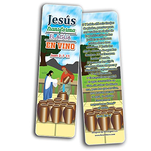 Spanish Miracles of Jesus Bible Bookmarks Cards (30-Pack) - Stocking Stuffers for Boys Girls - Children Ministry Bible Study Church Supplies Teacher Classroom Incentives Gift