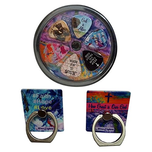 Christian Guitar Picks & Cell Phone Holders (How Great is Our God & Faith Hope Love)