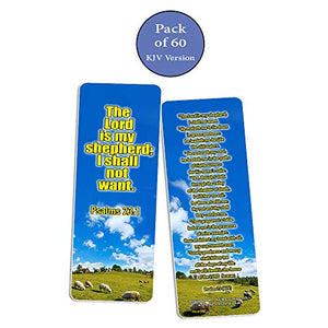Christian Bookmarks Cards - Psalm 23 King James Version (60 Pack)