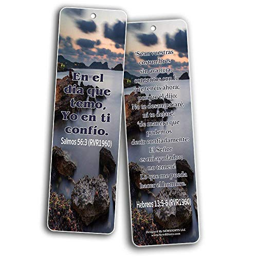 Spanish Christian Bible Verses Bookmarks - Release Stress and Anxiety (30-Pack)