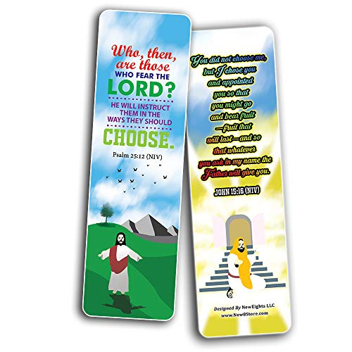 I Choose God Bible Verses Bookmarks Cards (30-Pack) - Stocking Stuffers for Boys Girls - Children Ministry Bible Study Church Supplies Teacher Classroom Incentives Gift