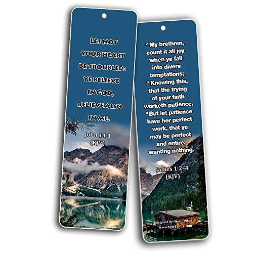 KJV Religious Bookmarks - Bible Verses About Trusting the Lord During Crisis (60 Pack) - Perfect Giftaway for Sunday School and Ministries