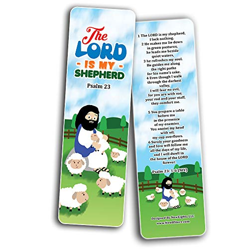 Psalm 23 The Lord is My Shepherd Bookmaks (30-Pack) - Stocking Stuffers for Boys Girls - Children Ministry Bible Study Church Supplies Teacher Classroom Incentives Gift