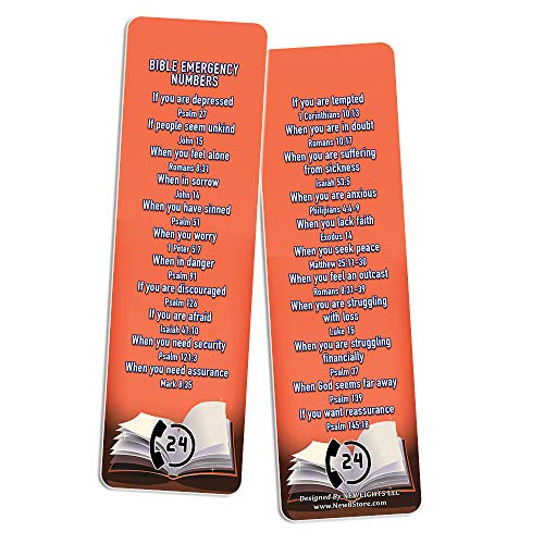 Bible Emergency Phone Numbers Christian Bookmarks (50 Pack)