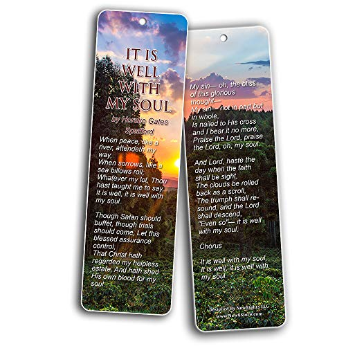 Hymn Bookmarks Series 1 - Amazing Grace (60-Pack) - Classic Gospel Song Lyrics - Bring You Back to the Good Old Day Worship - Stocking Stuffers for Men Women