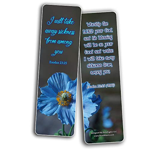 Scriptures Bookmarks - Bible Verses about Healing Scriptures and Comforting Bible Verses for Illness (60 Pack) - Perfect Gift away for Sunday School and Ministries - Stocking Stuffers Gift Giveaways