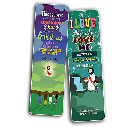 You are Loved Bible Verse Bookmarks (60-Pack) - Church Memory Verse Sunday School Rewards - Christian Stocking Stuffers Birthday Party Favors Assorted Bulk Pack