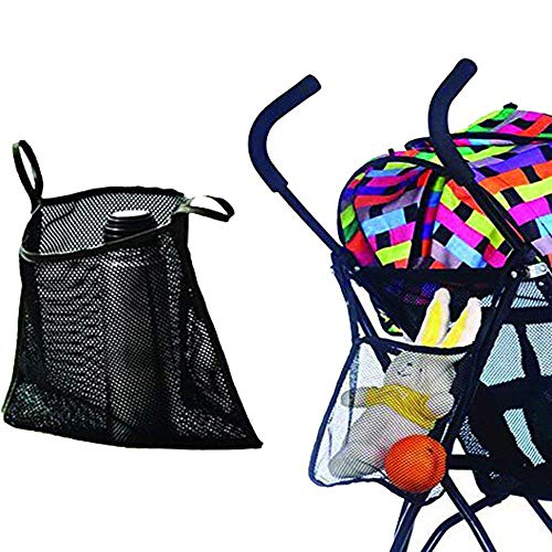 Charis Kid Mesh Stroller Bag - Stroller Attachable Organizer Carrying Bag - Umbrella Baby Stroller Accessories (Black (2 Pack))