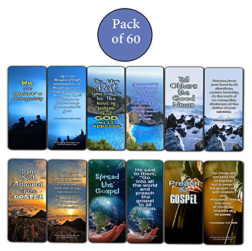Scriptures Cards Bookmarks About Evangelism (60 Pack) - VBS Sunday School Easter Baptism Thanksgiving Christmas Rewards Encouragement Motivational Gift