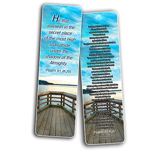 Psalm Bookmarks Cards (60-Pack) - Christian KJV Version Bible Scripture Prayer Cards - Psalm 46, Psalm 91, Psalm 118, Psalm 121, Psalm 139, Psalm 144 - Bible Study Religious Gifts for Men Women