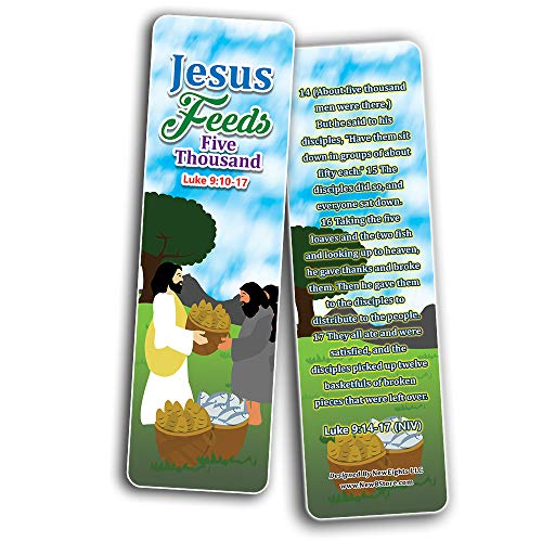 Miracles of Jesus Bible Bookmarks Cards (30-Pack) - Stocking Stuffers for Boys Girls - Children Ministry Bible Study Church Supplies Teacher Classroom Incentives Gift