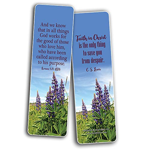 Faith Scriptures Cards Bookmarks (12-Pack) - Stocking Stuffers Devotional Bible Study - Church Ministry Supplies Classroom Teacher Incentive Gifts Giveaways