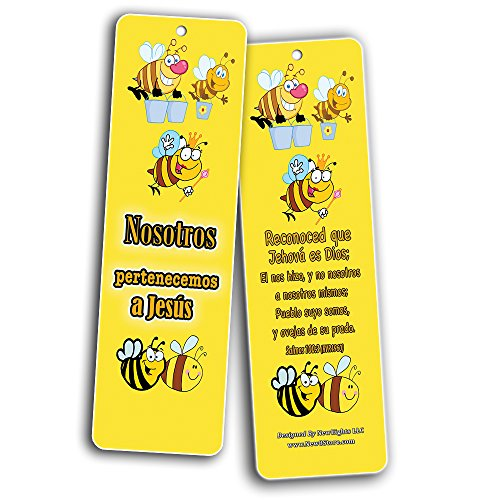 Spanish Bible Verses Bookmarks (60-Pack) (Cute Animals) - Christian Gift For Kids Girls Boys Children Sunday School Classroom Incentives Party Favors