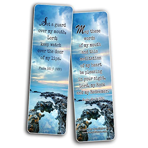 Bible Verses About the Tongue Scriptures Cards Bookmarks (12-Pack) - Collection Motivational of Bible Verses on Christian Development