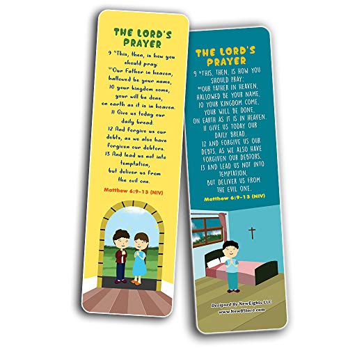 The Lord's Prayer Bible Bookmarks for Kids (60-Pack) - Church Memory Verse Sunday School Rewards - Christian Stocking Stuffers Birthday Party Favors Assorted Bulk Pack