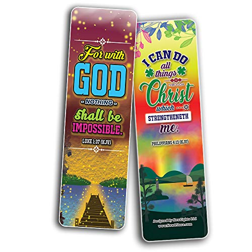 Inspirational Quotes Bible Verse Bookmarks (60-Pack) - Church Memory Verse Sunday School Rewards - Christian Stocking Stuffers Birthday Party Favors Assorted Bulk Pack