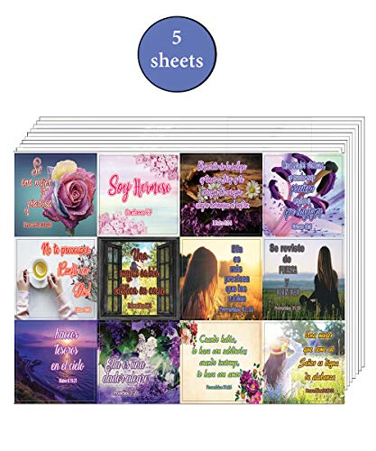 Encouraging Religious Stickers - Spanish Christian Stickers for Women Series