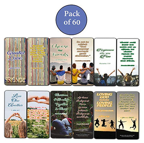 Scriptures Bookmarks - Bible Verses about Friendship (60 Pack) - Perfect Gift away for Sunday School and Ministries - Stocking Stuffers Adoration Devotional Bible Study - Church Ministry Supplies