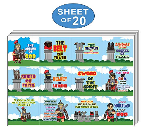 Armor of God Stickers Series 2 (20-Sheet) - School Rewards - Christian Stocking Stuffers Birthday Party Favors Assorted Bulk Pack