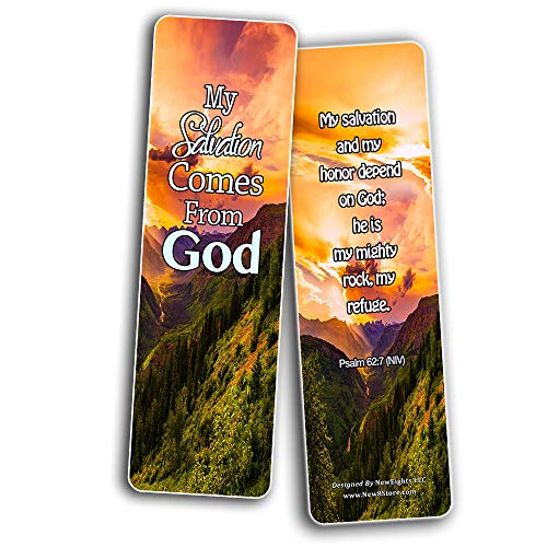 Scriptures Cards - Powerful Scriptures about Salvation (60 Pack) - Stocking Stuffers Devotional Bible Study - Church Ministry Supplies Teacher Classroom Incentive Gifts