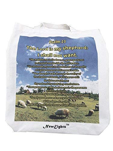 Christian Large Canvas Tote Bag Psalm 23 KJV The Lord is my shepherd - Great meaningful Gift Idea Church Faith Reminder